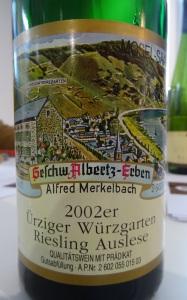 Weingut Markelbach Ürziger Würzgarten Riesling Auslese 2002